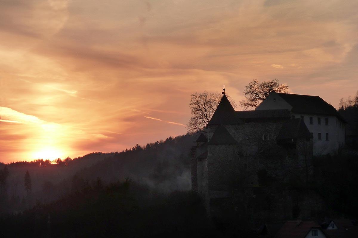 Burg Krumau Sonnenuntergang